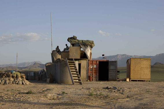LYNDELL BROWN CHARLES GREEN     Afghan National Army Perimeter Post with Chair, Tarin Kowt Base, Uruzgan Province, Afghanistan  2007-08 Digital colour photographs, inkjet prints on rag paper, unframed 111.5 x 151.5 cm