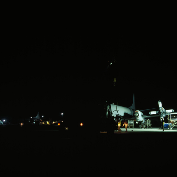 LYNDELL BROWN CHARLES GREEN     Night with Two Aircraft on Flightline, Military Installation, Gulf  2007-08 Digital colour photographs, inkjet prints on rag paper, unframed 111  .5 x 107  .5 cm