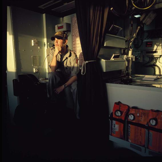 LYNDELL BROWN CHARLES GREEN     Dusk, Ship's Bridge with Sailor, Northern Gulf  2007-08 Digital colour photographs, inkjet prints on rag paper, unframed 111  .5 x 107  .5 cm
