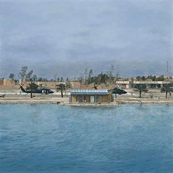 LYNDELL BROWN CHARLES GREEN     Baghdad  2009 Oil on linen 121.9 x 121.9 cm