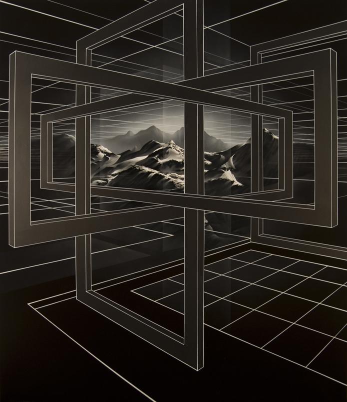 PETER DAVERINGTON     Imprisoned Landscape  2008 Oil, acrylic and enamel on linen 213 x 183 cm