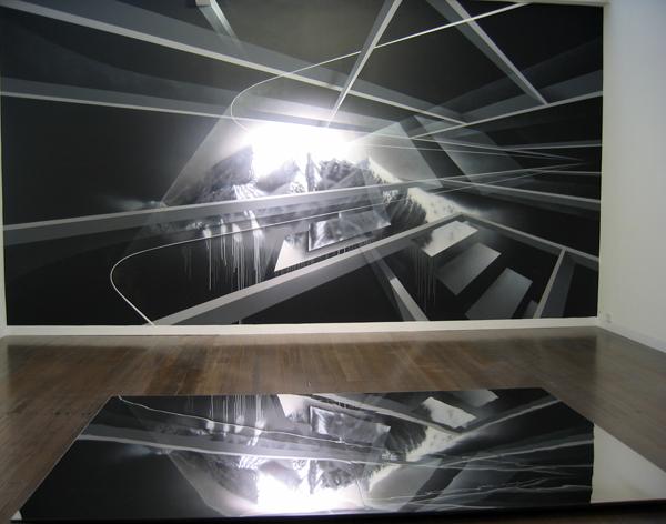 PETER DAVERINGTON    ALIF LAAM MEEM  2008 Acrylic and enamel on plaster, Mirror object