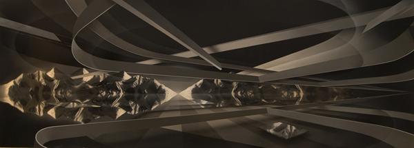 PETER DAVERINGTON     Transitionary Space  2008 Oil, Acrylic & Enamel on Linen   153 x 426 cm