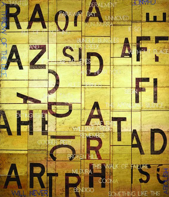 IMANTS TILLERS    Outback: L  2008 acrylic, gouache on 54 canvasboards 214 x 229 cm