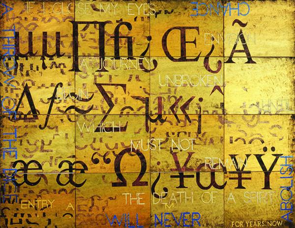 IMANTS TILLERS    Nature Speaks: AM  2008 Acrylic, gouache on 16 canvas boards 143 x 102 cm
