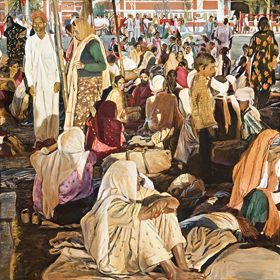 LYNDELL BROWN CHARLES GREEN    Crowd, India  2007 Oil on Linen 31 x 31 cm