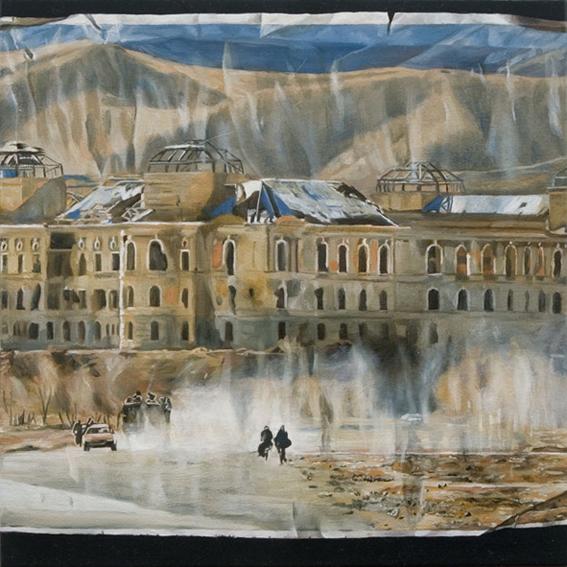 LYNDELL BROWN CHARLES GREEN    Kabul (for Alex Miller)  2006 Oil on Linen 31 x 31 cm