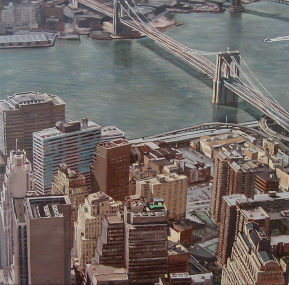 LYNDELL BROWN CHARLES GREEN    View of East River from World Trade Centre, 11am  May 2001 2007 Oil on Linen 31 x 31 c
