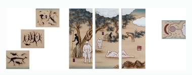 GUAN WEI   A Mysterious Land No.1   2007 Acrylic on canvas (7 panels)  130 x   381  cm