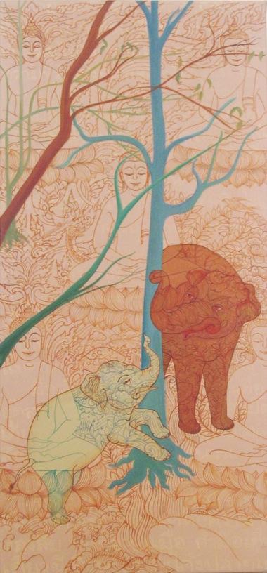 PHPHAPTAWAN SUWANNAKUDT     ONE IS ALL- F    2007   Acrylic on canvas 90 x 4  0 cm