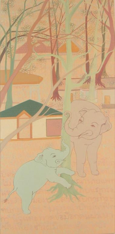 PHAPTAWAN SUWANNAKUDT     ONE IS ALL- E    2007   Acrylic on canvas 90 x 4  0 cm