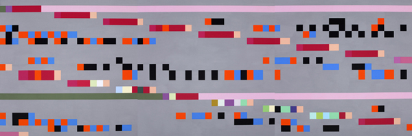 ROBERT OWEN     Study for Mantra 2005 - 2006  (3 units) 2005-2006 Synthetic Polymer Paint on Linen  150 x 450 cm