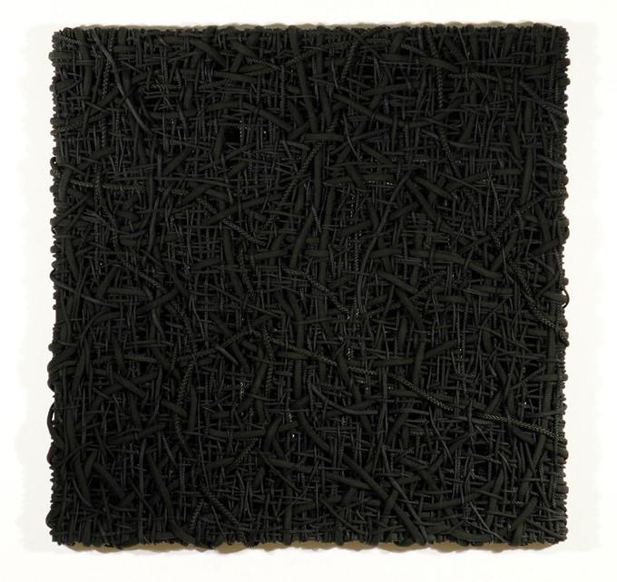 DANI MARTI    Variations in a Serious Black Dress #15 BD Take 6  2005 polyester/polypropylene rope/wood