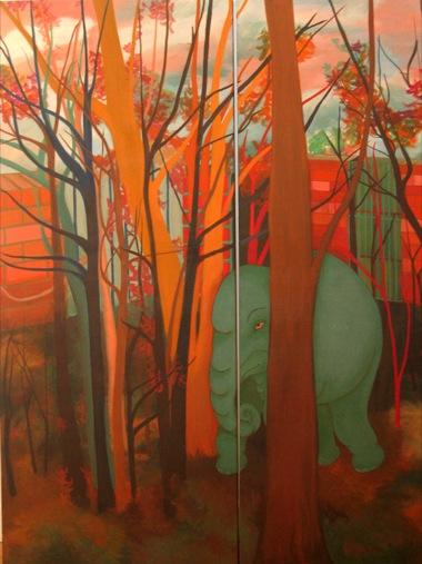 PHAPTAWAN SUWANNAKUDT     The Elephant in the Bush #4    2004   Oil on Canvas/diptych 18  0 x 15  0 cm