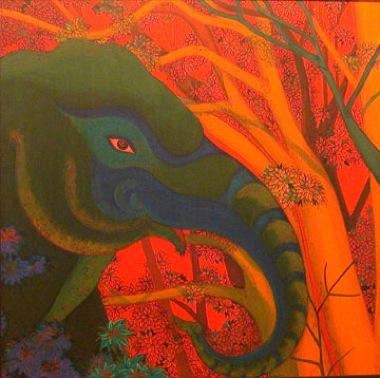 PHAPTAWAN SUWANNAKUDT     The Elephant in the Bush #1    2004   Oil on Canvas 60 x 60 cm