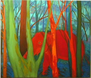 PHAPTAWAN SUWANNAKUDT     The Elephant in the Bush #6    2004   Oil on Canvas 76 x 91 cm