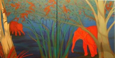 PHAPTAWAN SUWANNAKUDT     The Elephant in the Bush #3    2004   Oil on Canvas/diptych 60 x 120   cm