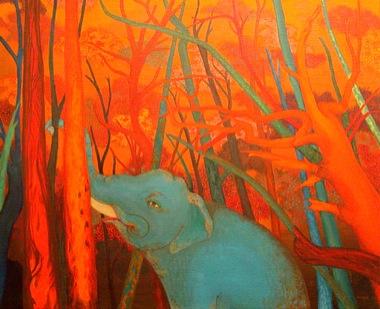 PHAPTAWAN SUWANNAKUDT     The Elephant in the Bush #8    2004   Oil on Canvas 76 x 91 cm