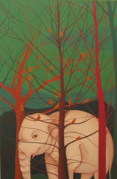 PHAPTAWAN SUWANNAKUDT     The Elephant in the Bush #5    2004   Oil on Canvas 95 x 5  5 cm