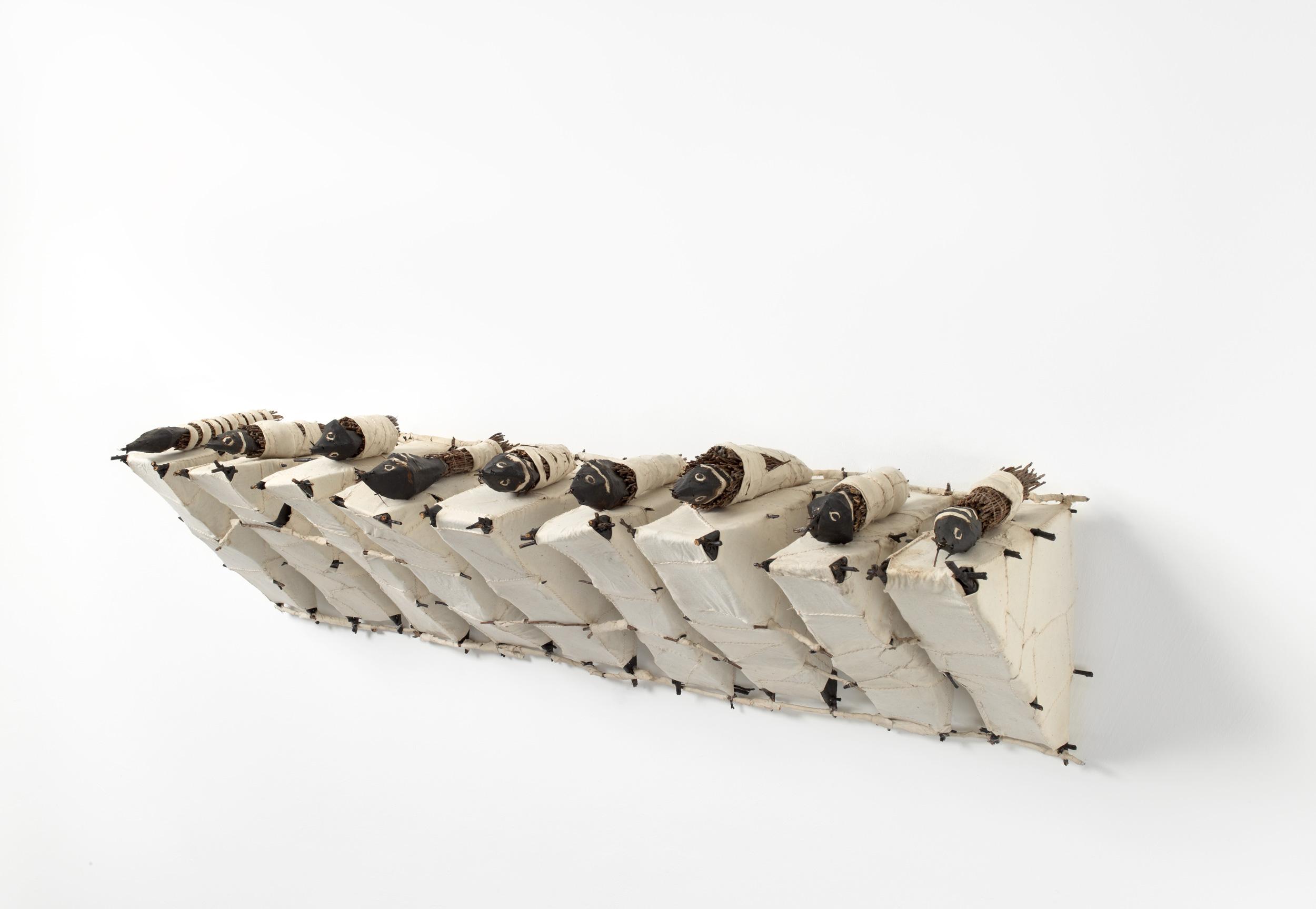 JOHN DAVIS     The Collection  1991 Twigs, calico, bituminous paint, cotton thread 44 x 144 cm