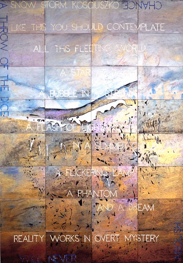 Snow Storm, Kosciuszko II , 2013, Acrylic, gouache on 32 canvas boards, 203 x 142cm