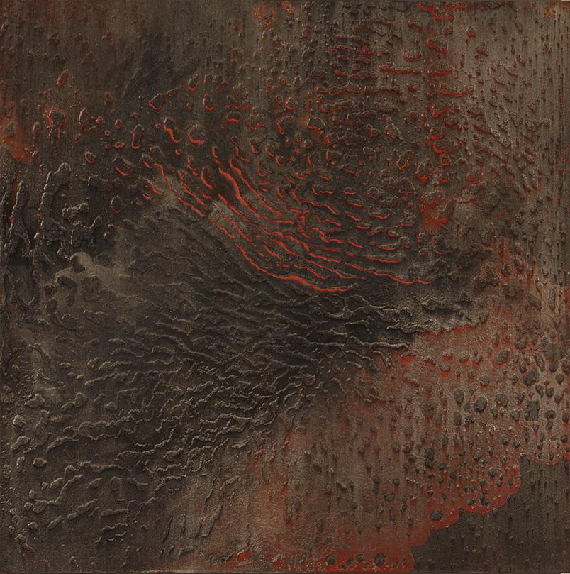 CATHERINE WOO     Ember  2015 mixed media on aluminium 120 x 120 cm