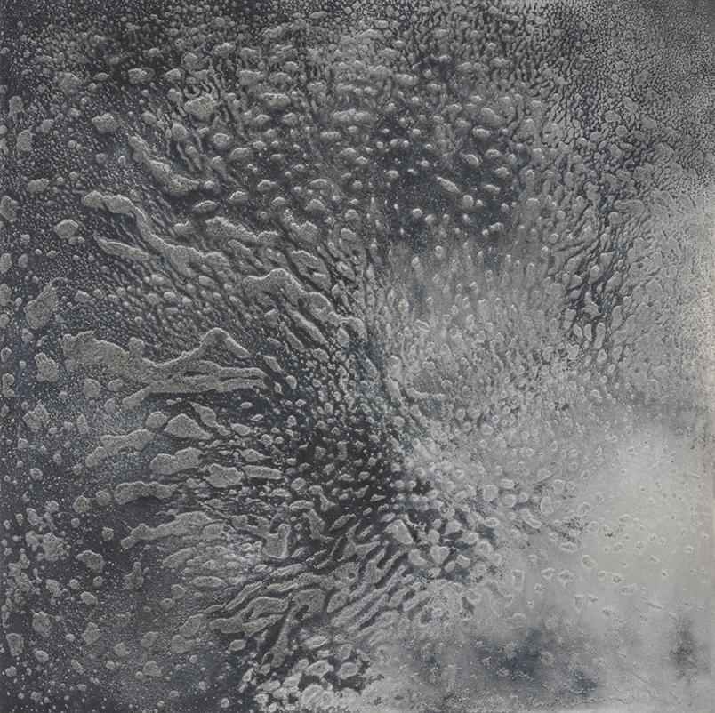 CATHERINE WOO     Cinders  2015 mixed media on aluminium 120 x 120 cm