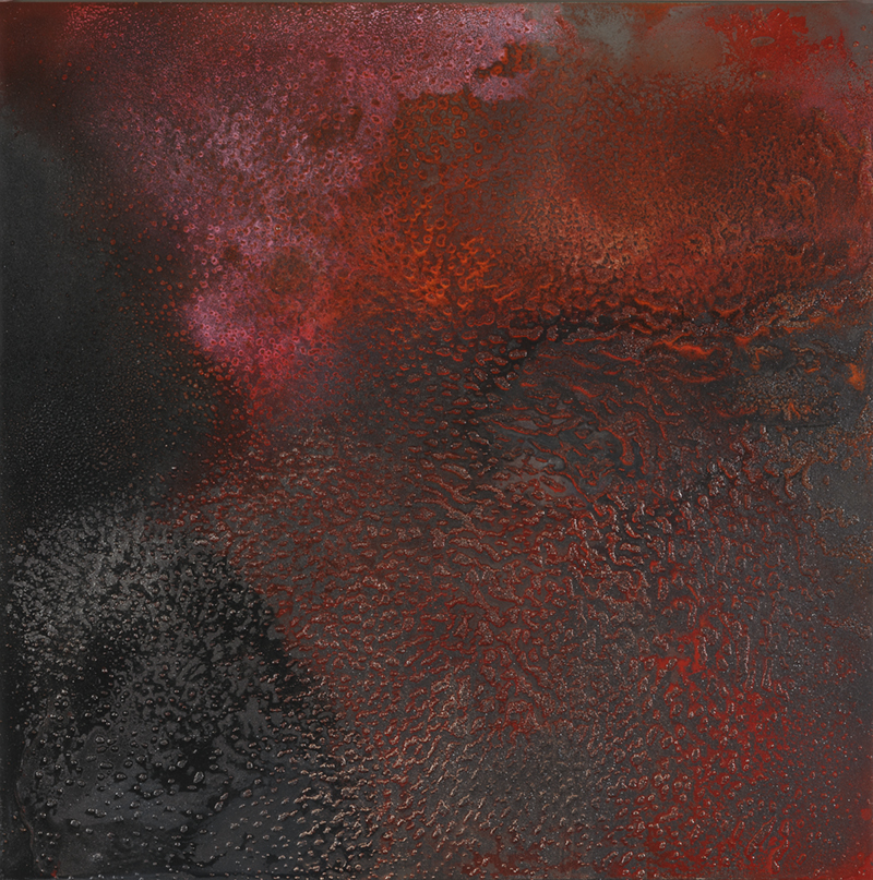 CATHERINE WOO     Slow Burn  2015 mixed media on aluminium 120 x 120 cm