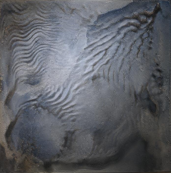 CATHERINE WOO     Smoke  2015 mixed media on aluminium 60 x 60 cm
