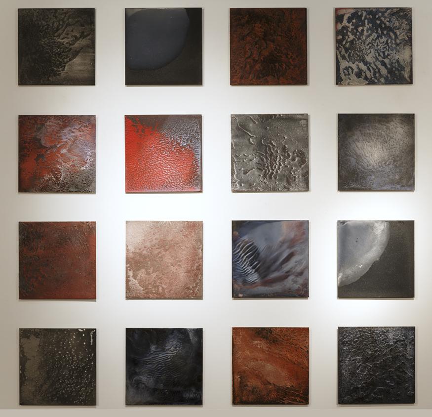 CATHERINE WOO     Incendie studies (1-16)  2015 mixed media on aluminium 40 x 40 cm