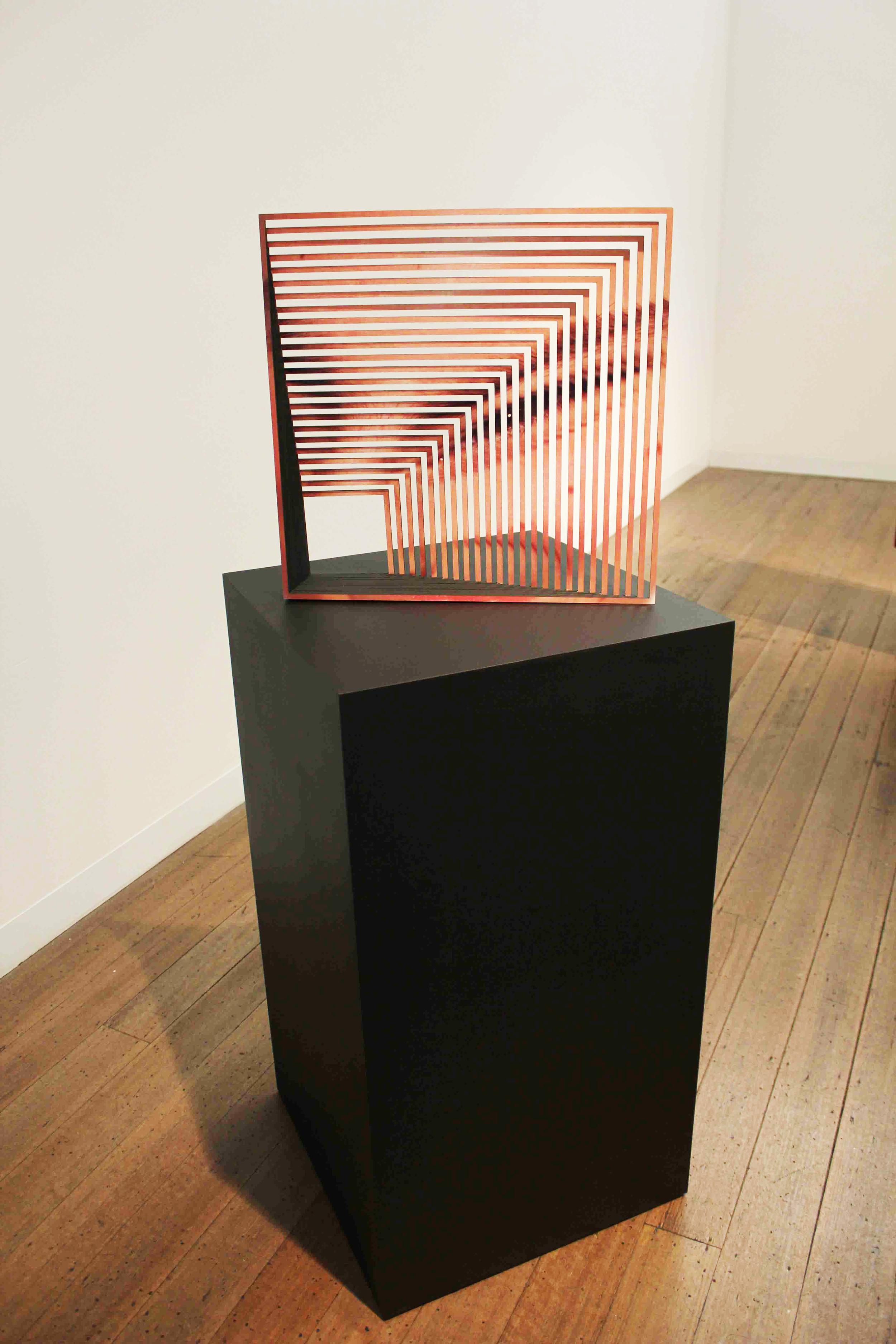 JUSTINE KHAMARA    Whether I am Asleep or Awake #4    2015   45 x 45 cm   Laser cut UV print on plywood, paint