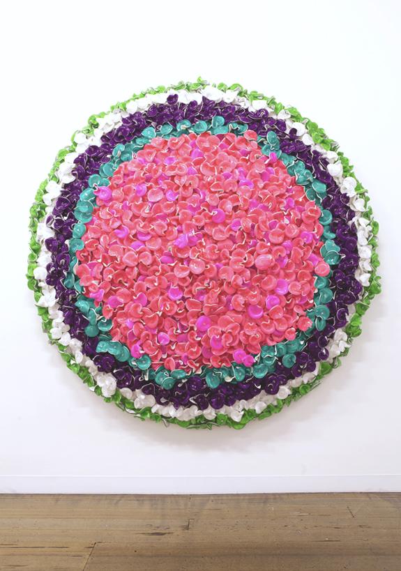 DANI MARTI    Run, Run, Run (pink)    2014   195 x 195 cm   Corner cube reflectors and natural crystal beads on aluminium frame