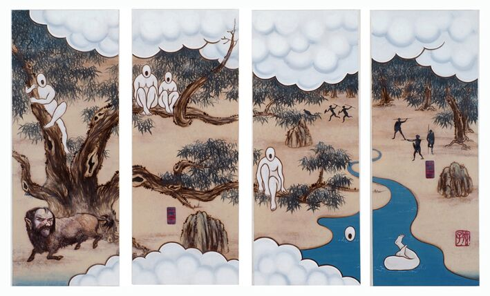 A Mysterious Land No.6 , 2007, Acrylic on canvas (4 panels), 130 x 218 cm