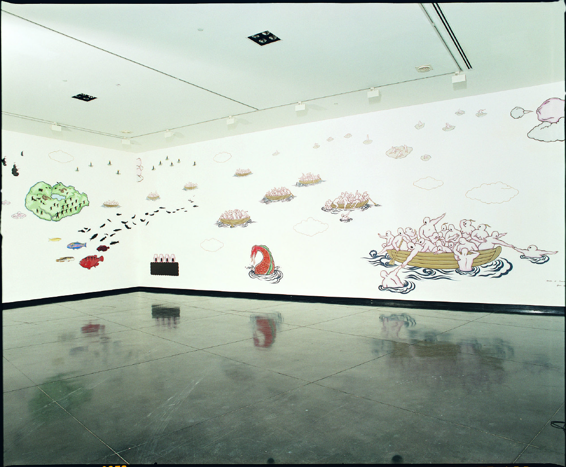 Home of Dream  - painting installation,  Cycle Tracks will abound in Utopia  at ACCA (Australia Centre for Contemporary Art), Melbourne, July 2004, Acrylic paint, 450 x 2200 cm