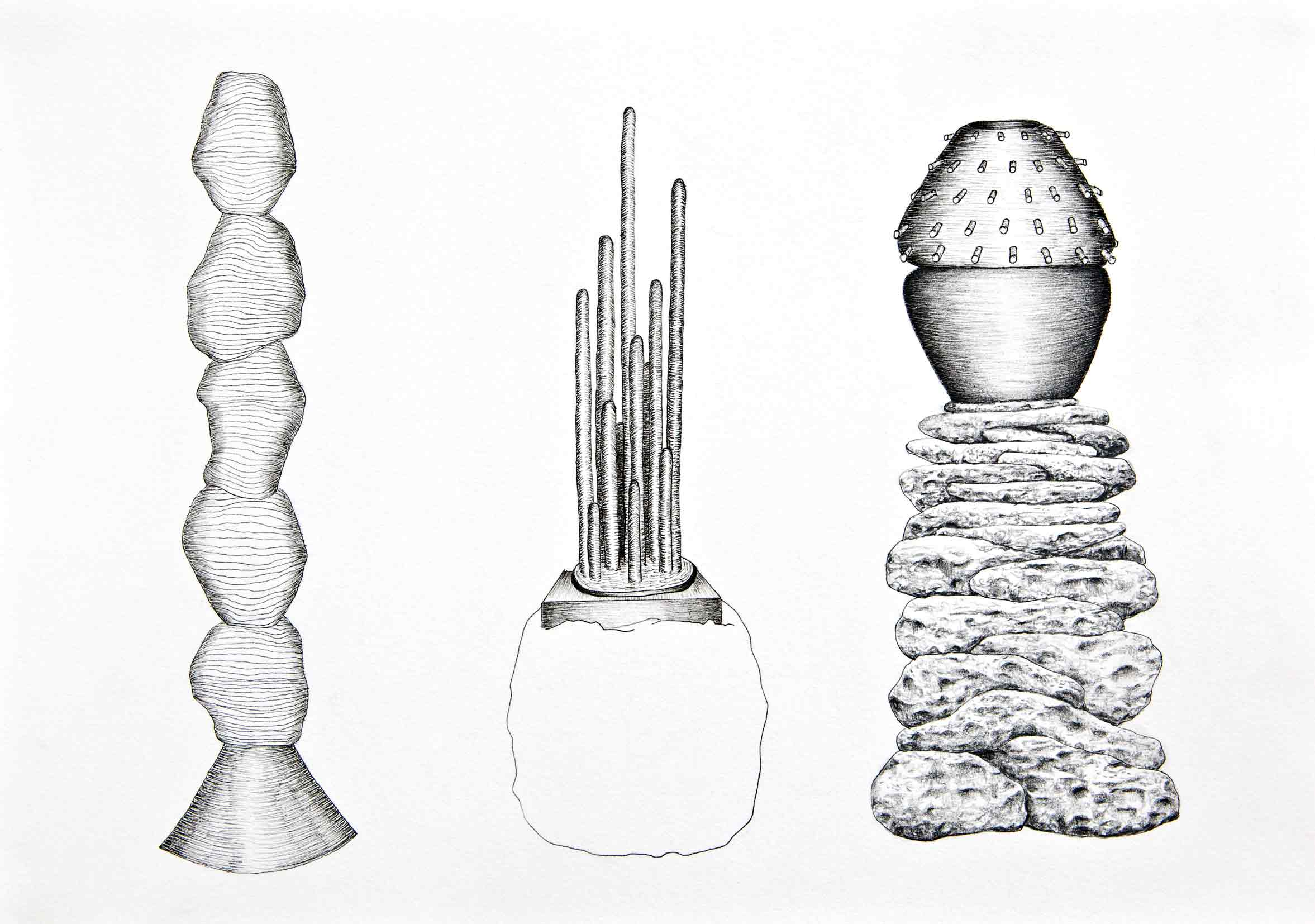 TRACY SARROFF   The Rock Stacking  2015 Pencil, archival pen on paper 21 x 29 cm