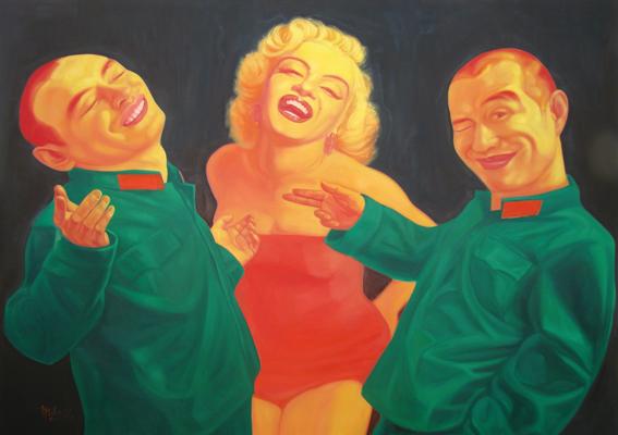 GUO JIAN   Untitled (0001 Avec Marilyn)  2008 Oil on canvas 152 x 312 cm
