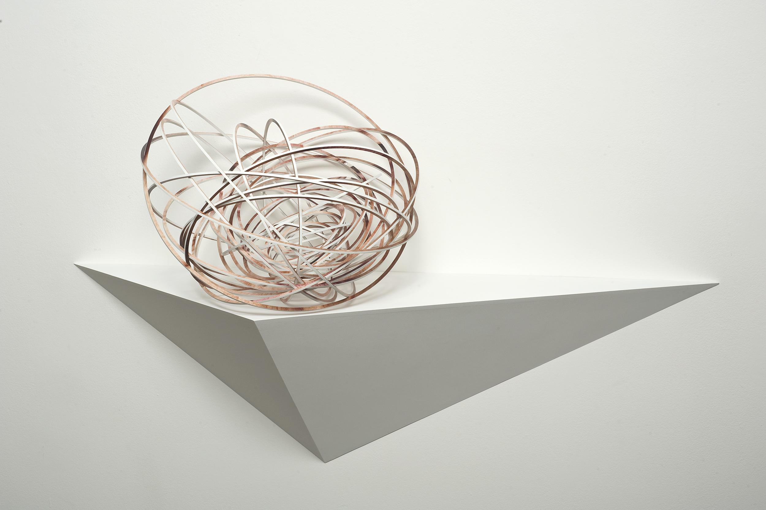 Justine Khamara,  Orbital Spin Trick #2  , 2013,UV print on laser-cut plywood sculpture, 50 x 50 x 50cm.