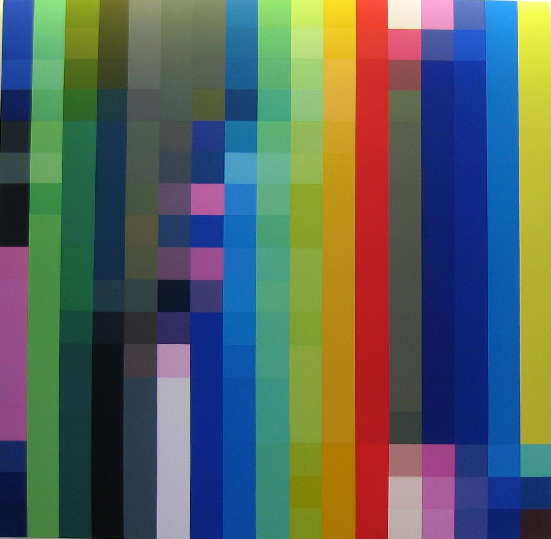 ROBERT OWEN     Spectrum Analysis #9  2004 polymer paint on linen 224 x 102 cm