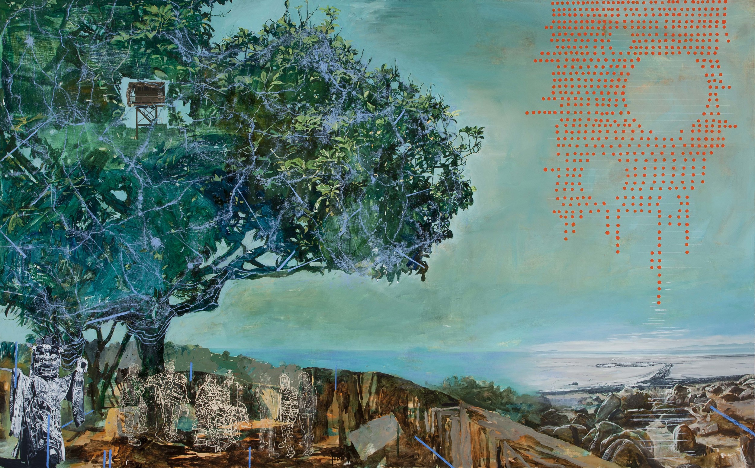 LYNDELL BROWNCHARLES GREEN   Balibo (The Fort)  2014 Oil and acrylic on linen 152.5 x 243.5 cm