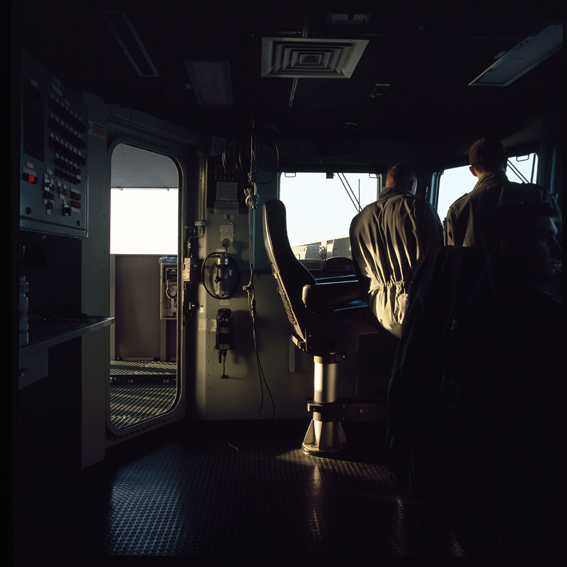 LYNDELL BROWN CHARLES GREEN     Dusk, Ship's Bridge with Two Sailors, Northern Gulf  2007-08 Digital colour photographs, inkjet prints on rag paper, unframed 111.5 x 107.5 cm