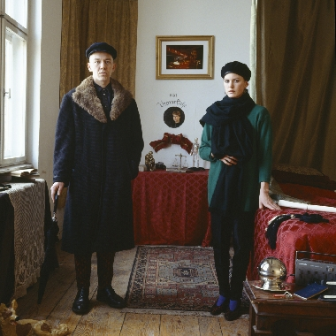 ANNE ZAHALKA     Marriage of Convenience (Graham Budgett and Jane Mulfinger/ artists)  1987 Cibachrome photograph 80 x 80 cm