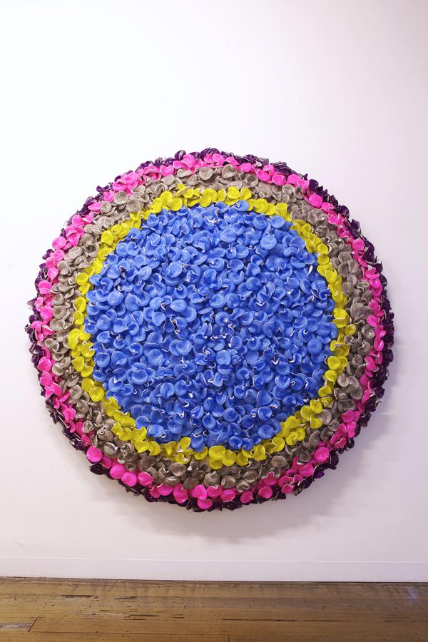 DANI MARTI     Run, Run, Run (blue)  2014 corner cube reflectors and natural crystal beads on aluminum frame 195 x 195 cm