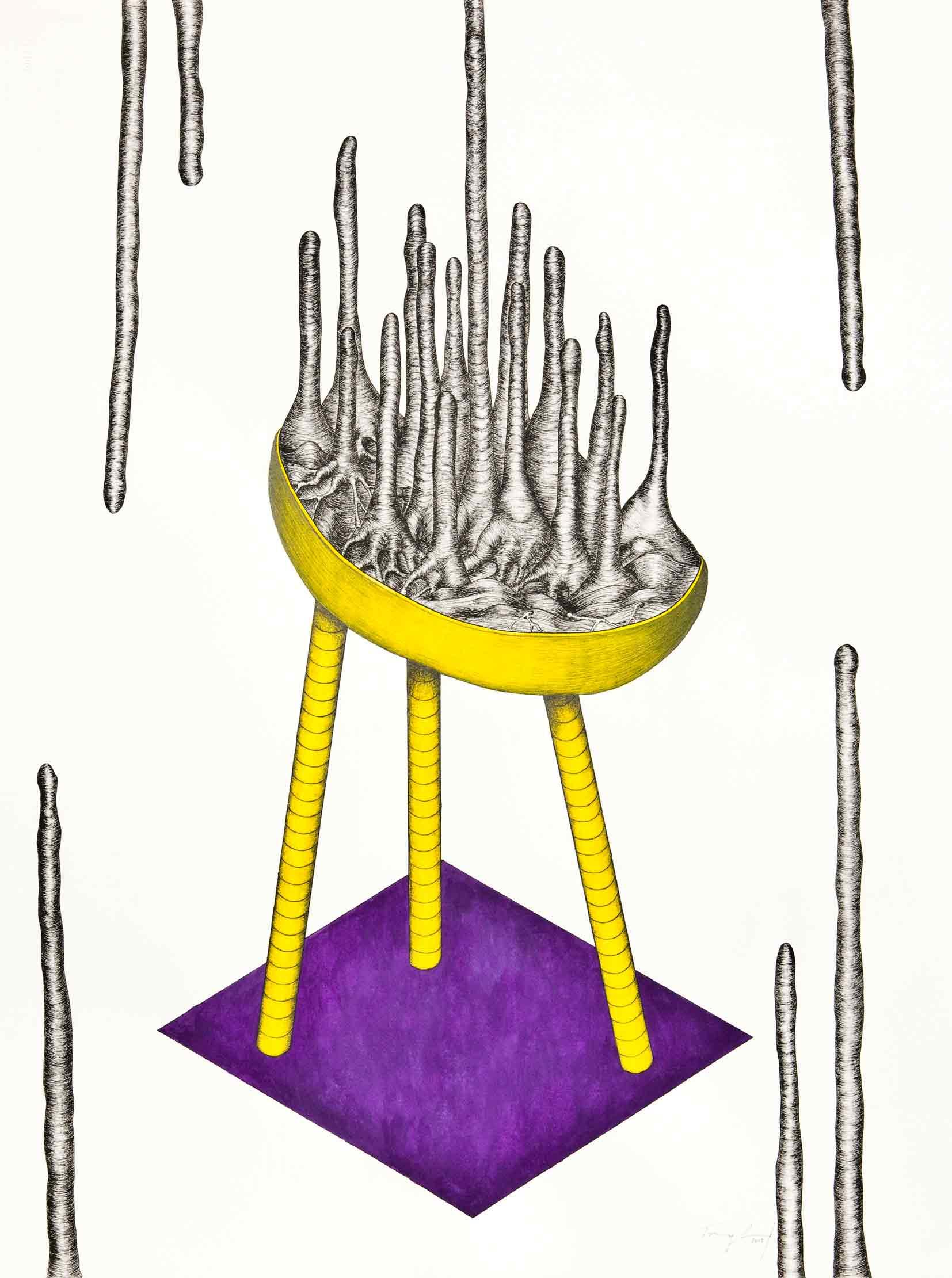 TRACY SARROFF   Balloon Drumstick  2015 Gouache, archival pen on paper 76 x 56 cm