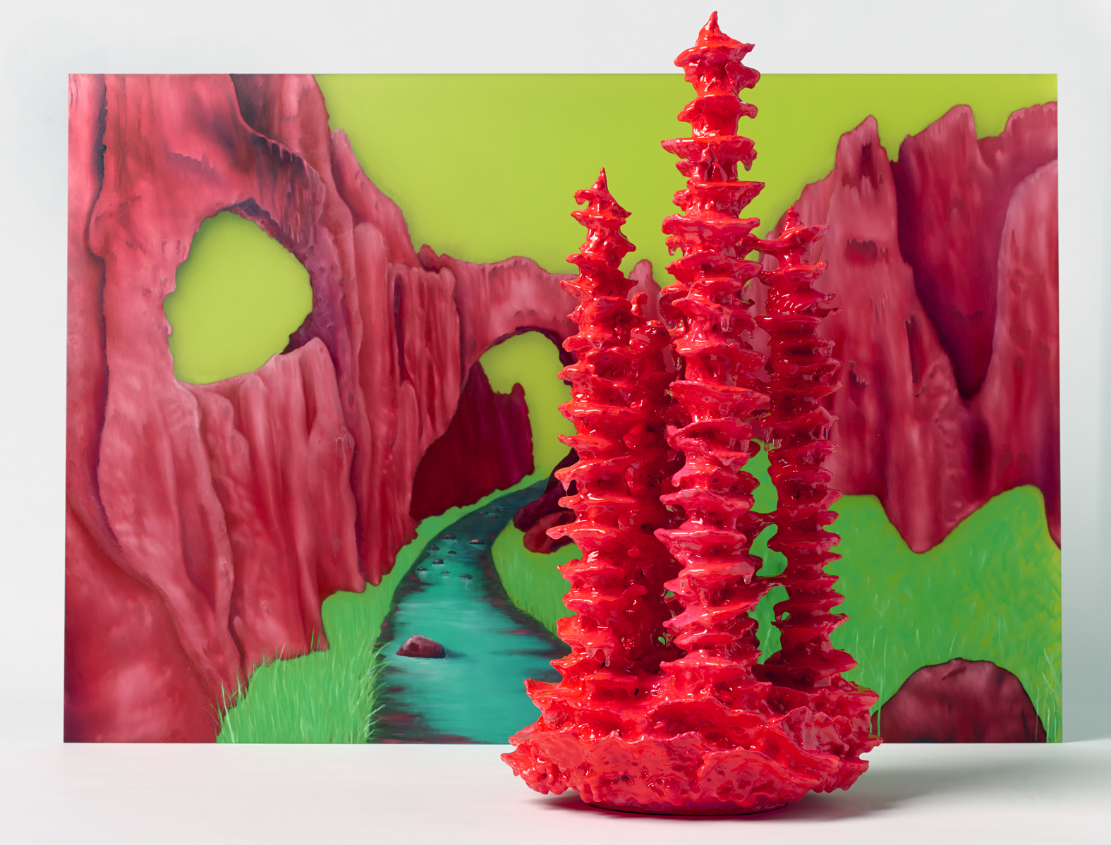 TRACY SARROFF     The Crimson Arch and Stalagmite  2013 oil paint on perspex 56 x 83 cm