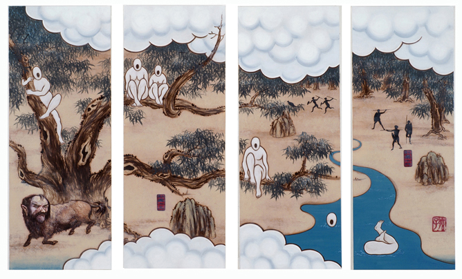 GUAN WEI   A Mysterious Land No.6   2007   Acrylic on canvas (4 panels)   130 x 218 cm