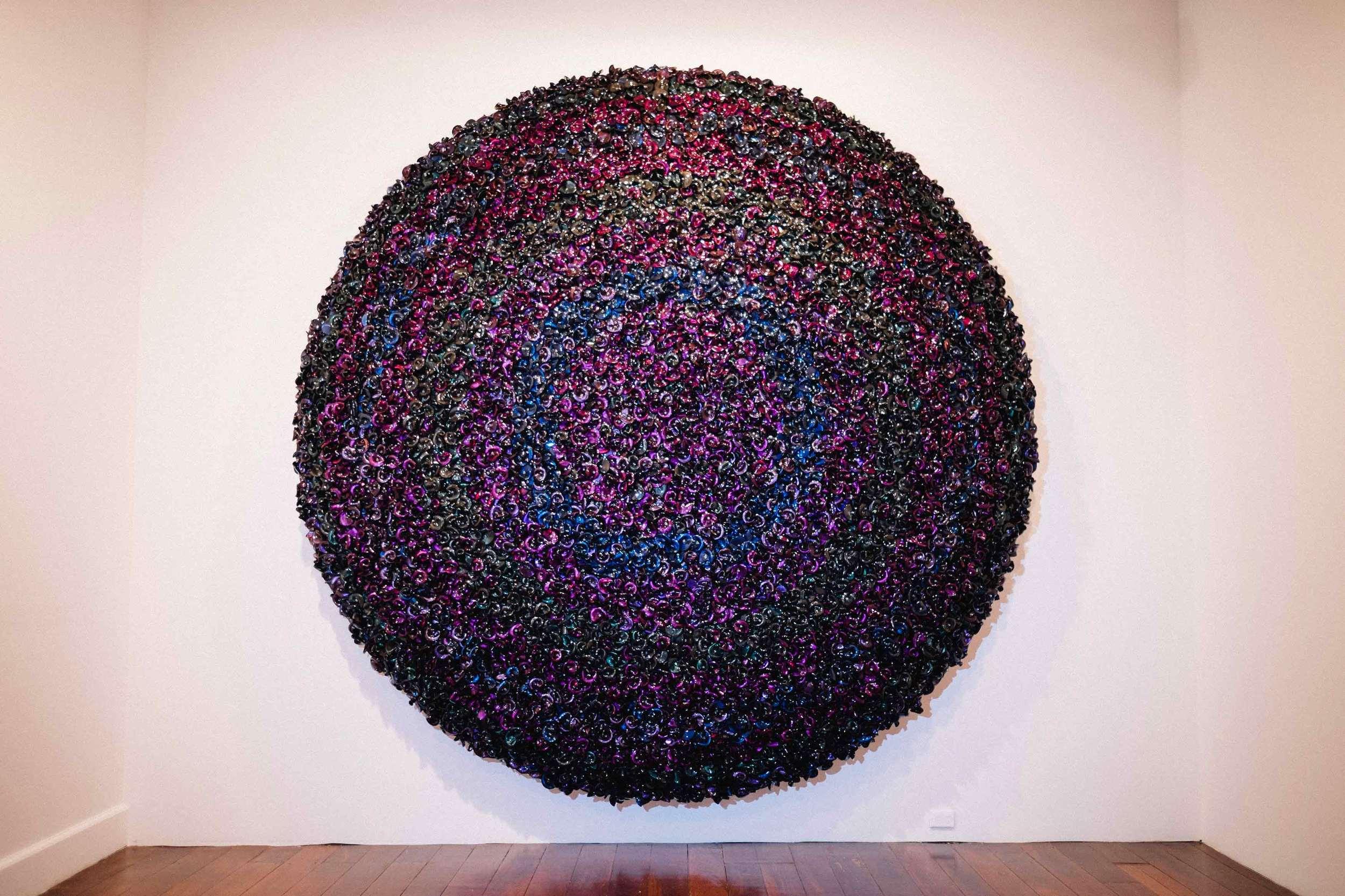DANI MARTI     Prelude (purple)  2015 Corner cube reflectors, glass beads on aluminium frame 125 x 125 x 33cm