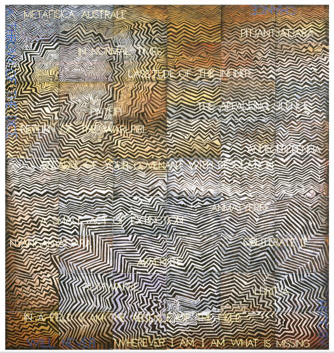 Image: Imants Tillers,  The Porous Vessel ,2015, acrylic, gouache on 54 canvas boards, 228 x 212cm.