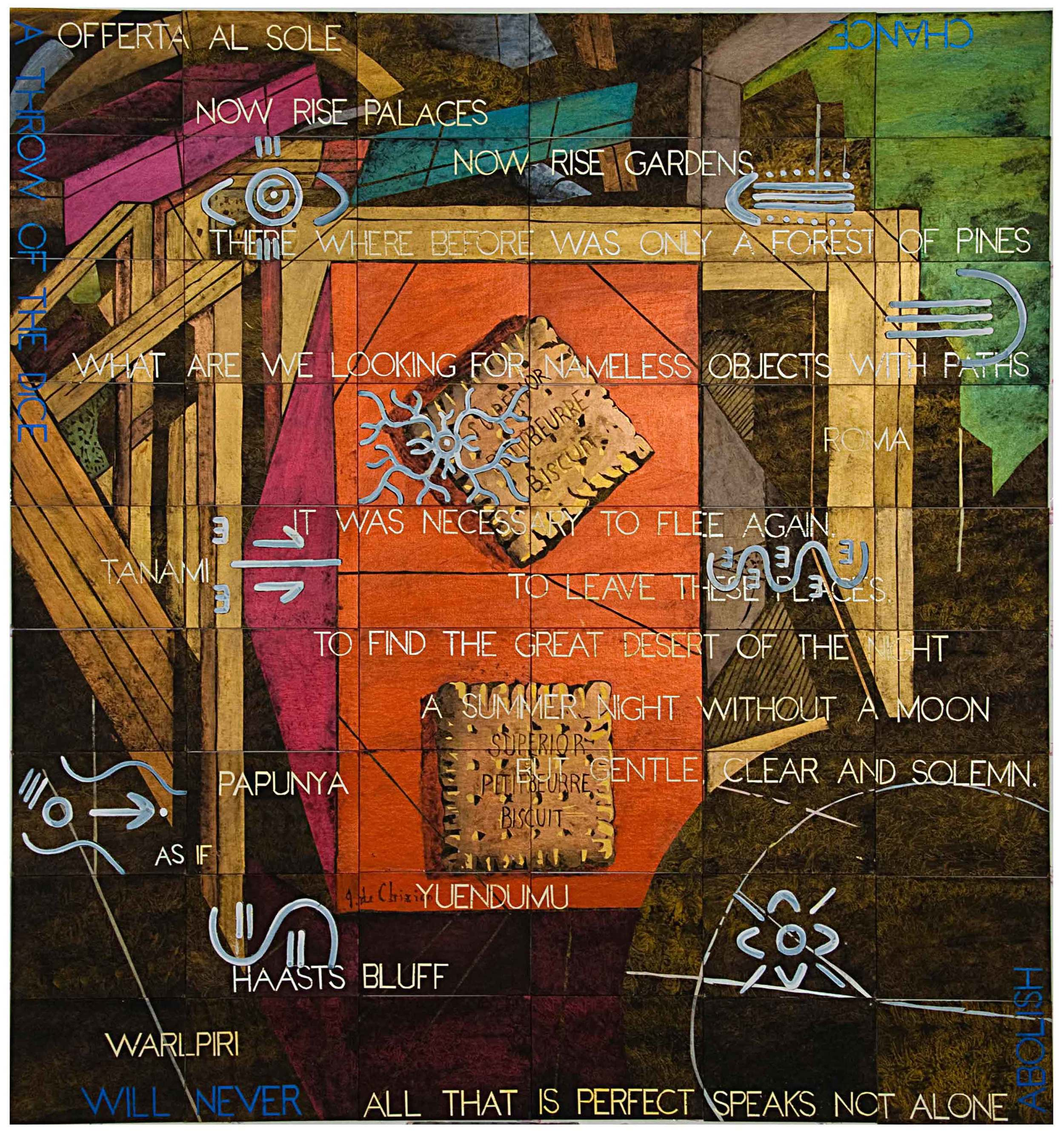 IMANTS TILLERS   Breakfast Epiphany (with 9 panels by Michael Nelson Jagamara) 2014 Synthetic polymer paint, gouache on 54 canvasboards, nos. 91781 - 91834 228.6 x 213.4 cm