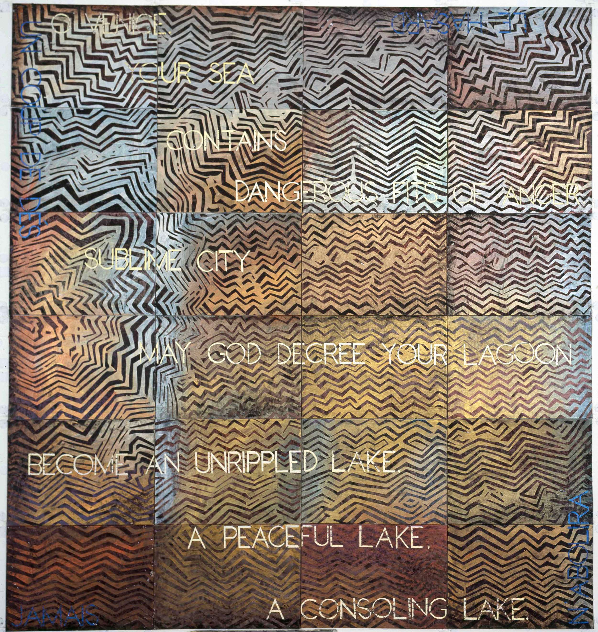 IMANTS TILLERS   Gravity Wave  2015 Synthetic polymer paint, gouache on 24 canvasboards, nos. 96597 - 96620 152.4 x 142.2 cm