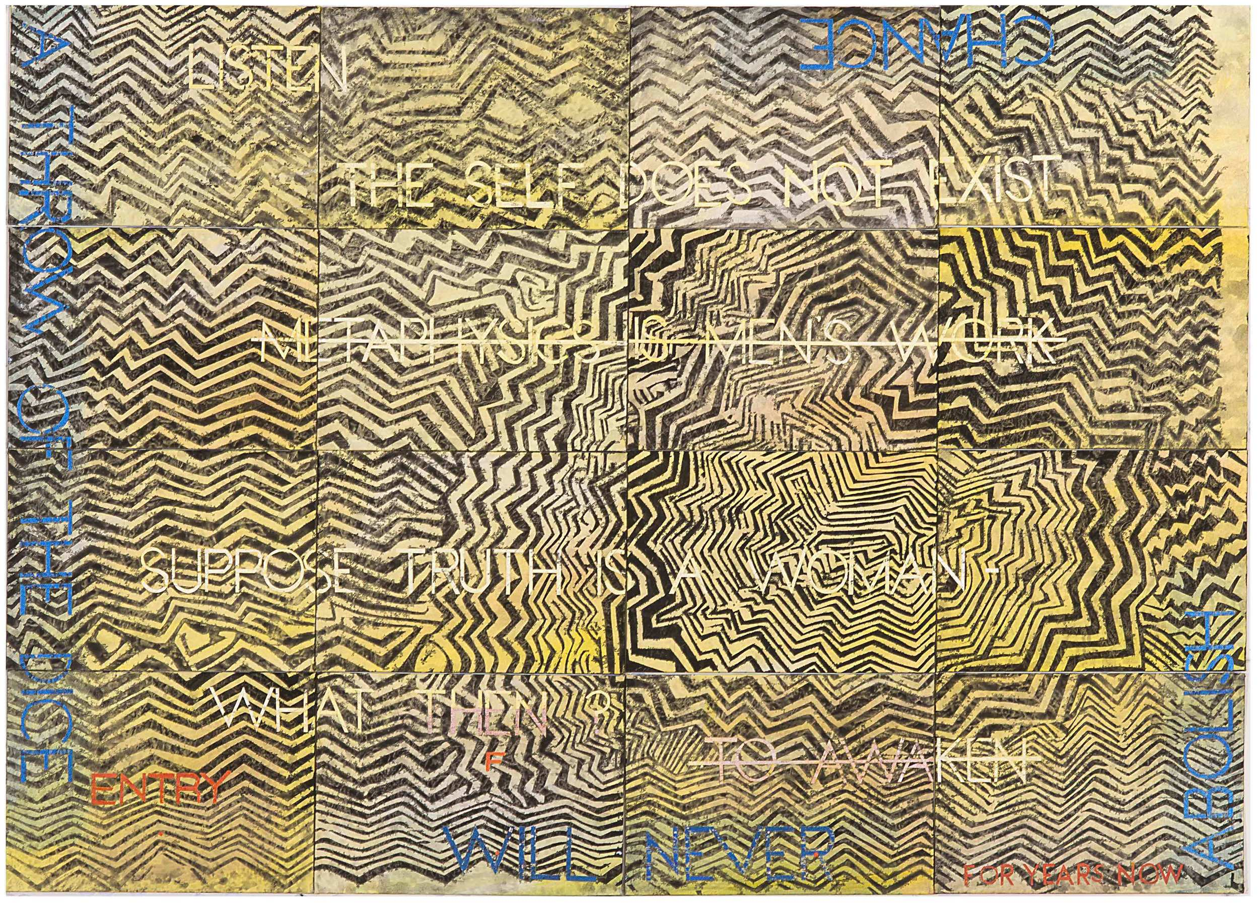 IMANTS TILLERS   Nature Speaks: FQ  2016 Synthetic polymer paint, gouache on 16 canvasboards, nos. 98326 – 98341 101.6 x 142.2 cm